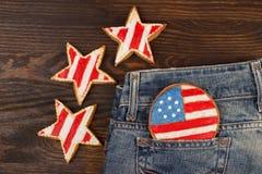 Μπισκότο με τα αμερικανικά πατριωτικά χρώματα στην τσέπη Στοκ Φωτογραφίες