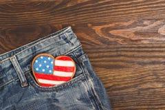 Μπισκότο με τα αμερικανικά πατριωτικά χρώματα στην τσέπη Στοκ Εικόνα