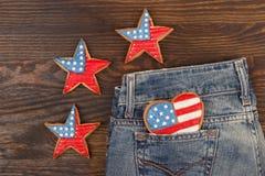Μπισκότο με τα αμερικανικά πατριωτικά χρώματα στην τσέπη Στοκ Εικόνες