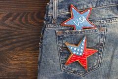 Μπισκότο με τα αμερικανικά πατριωτικά χρώματα στην τσέπη Στοκ Φωτογραφία