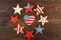 Μπισκότο με τα αμερικανικά πατριωτικά χρώματα Στοκ Εικόνες