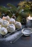 Μπισκότο ξύλων καρυδιάς που ψεκάζεται με την κονιοποιημένη ζάχαρη Στοκ Φωτογραφίες