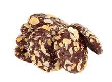 μπισκότο σοκολάτας τσιπ αμυγδάλων που απομονώνεται Στοκ Φωτογραφία