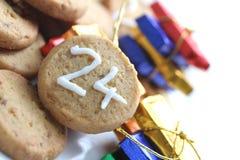 Μπισκότο 24$ος Χριστουγέννων του Δεκεμβρίου Στοκ εικόνες με δικαίωμα ελεύθερης χρήσης