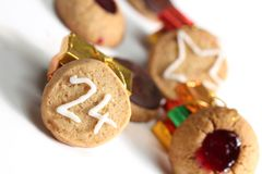 Μπισκότο 24$ος Χριστουγέννων του Δεκεμβρίου Στοκ Φωτογραφίες