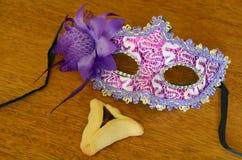 Μπισκότο Hamantaschen και μάσκα Purim Στοκ Εικόνες