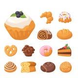 Μπισκότων διανυσματικά κέικ νόστιμα πρόχειρων φαγητών εύγευστα σοκολάτας σπιτικά μπισκότων ζύμης μπισκότων τρόφιμα αρτοποιείων επ Στοκ Εικόνες