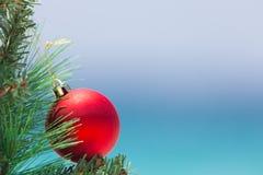 Μπιχλιμπίδι Χριστουγέννων σε ένα δέντρο με το υπόβαθρο παραλιών στοκ εικόνες