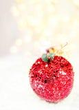 Μπιχλιμπίδι της Apple διακοπών στα άσπρα φω'τα και το αντίγραφο SP Χριστουγέννων χιονιού Στοκ εικόνα με δικαίωμα ελεύθερης χρήσης