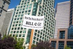 Μπιλ γ-51 (νόμος αντι-τρομοκρατίας) διαμαρτυρία στο Βανκούβερ Στοκ Φωτογραφίες