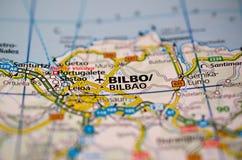 Μπιλμπάο στο χάρτη Στοκ εικόνα με δικαίωμα ελεύθερης χρήσης