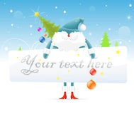 Μπλε Άγιος Βασίλης με το χριστουγεννιάτικο δέντρο διανυσματική απεικόνιση