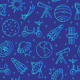 Μπλε άνευ ραφής σχέδιο με τα διαστημικά εικονίδια στο λεπτό ύφος γραμμών Στοκ Φωτογραφία