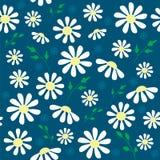 Μπλε άνευ ραφής σχέδιο με τα λουλούδια Στοκ Φωτογραφίες