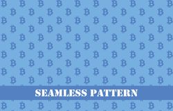 Μπλε άνευ ραφής σχέδιο bitcoin Στοκ Φωτογραφίες