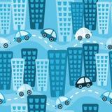 Μπλε άνευ ραφής υπόβαθρο αυτοκινήτων παιχνιδιών πόλεων Στοκ εικόνες με δικαίωμα ελεύθερης χρήσης