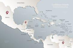 Μπλε άσπρος τρισδιάστατος καρτών χαρτών της Κεντρικής Αμερικής νησιών Καραϊβικής διανυσματική απεικόνιση