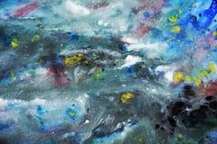 Μπλε άσπρο κίτρινο σκοτεινό χρώμα watercolor, μαλακά χρώματα μιγμάτων, υπόβαθρο σημείων ζωγραφικής, ζωηρόχρωμο αφηρημένο υπόβαθρο Στοκ Φωτογραφία