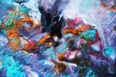Μπλε άσπρο πορτοκαλί σκοτεινό χρώμα watercolor, μαλακά χρώματα μιγμάτων, υπόβαθρο σημείων ζωγραφικής, ζωηρόχρωμο αφηρημένο υπόβαθ Στοκ φωτογραφίες με δικαίωμα ελεύθερης χρήσης