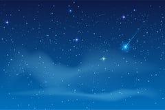 Μπλε έναστρος ουρανός νύχτας Φωτεινό αστέρι για να πέσει μετεωρίτης απεικόνιση αποθεμάτων