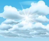 μπλε ήλιος ουρανού σύννε& Στοκ Φωτογραφία
