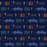 Μπλε αγροτικό σχέδιο καλαμποκιού νύχτας με τη σιταποθήκη, φορτηγό, φράκτης, αγροτικό δίκρανο απεικόνιση αποθεμάτων