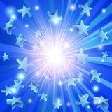 Μπλε ανασκόπηση αστεριών απεικόνιση αποθεμάτων