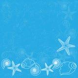 Μπλε ανασκόπηση με τη ζωή θάλασσας Στοκ εικόνα με δικαίωμα ελεύθερης χρήσης