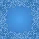 Μπλε ανασκόπηση με τη floral διακόσμηση Στοκ εικόνα με δικαίωμα ελεύθερης χρήσης
