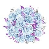 Μπλε ανθοδέσμη τριαντάφυλλων η διακοσμητική εικόνα απεικόνισης πετάγματος ραμφών το κομμάτι εγγράφου της καταπίνει το watercolor  Στοκ φωτογραφία με δικαίωμα ελεύθερης χρήσης