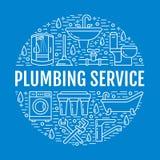 Μπλε απεικόνιση εμβλημάτων υπηρεσιών υδραυλικών Διανυσματικό εικονίδιο γραμμών του εξοπλισμού λουτρών σπιτιών, στρόφιγγα, τουαλέτ ελεύθερη απεικόνιση δικαιώματος