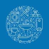 Μπλε απεικόνιση εμβλημάτων υπηρεσιών υδραυλικών Διανυσματικό εικονίδιο γραμμών του εξοπλισμού λουτρών σπιτιών, στρόφιγγα, τουαλέτ διανυσματική απεικόνιση