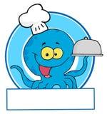 Μπλε αρχιμάγειρας χταποδιών διανυσματική απεικόνιση
