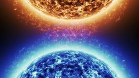 Μπλε αστέρι εναντίον του κόκκινου αστεριού Κόκκινη επιφάνεια ήλιων με τις ηλιακές εκλάμψεις ενάντια στον μπλε ήλιο που απομονώνον απόθεμα βίντεο