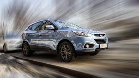 Μπλε αυτοκίνητο Hyundai Στοκ εικόνα με δικαίωμα ελεύθερης χρήσης