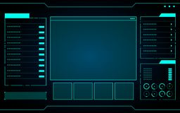 Μπλε αφηρημένη διεπαφή τεχνολογίας hud στο μαύρο υπόβαθρο Στοκ Φωτογραφίες