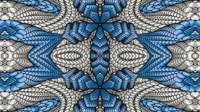 Μπλε αφηρημένο συμμετρικό υπόβαθρο με τα ασημένια σχέδια για το prin Στοκ Φωτογραφίες