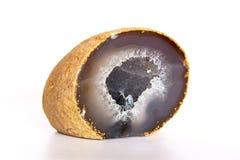 Μπλε αχάτης Crytal χαλαζία που απομονώνεται στο λευκό Στοκ Φωτογραφίες