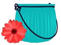 Μπλε βάζο γυαλιού και όμορφο λουλούδι Διανυσματική επίπεδη απεικόνιση διανυσματική απεικόνιση