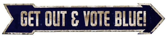 Μπλε βέλος σημαδιών δημοκρατών ψηφοφορίας ελεύθερη απεικόνιση δικαιώματος