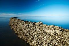 μπλε βαθύς ουρανός seawall κάτω Στοκ φωτογραφία με δικαίωμα ελεύθερης χρήσης