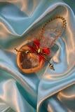 μπλε βαλεντίνος του ST μεταξιού καρδιών s ημέρας Στοκ Φωτογραφίες