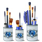 Μπλε βούρτσες makeup, mascara, χτένα, οφθαλμοί βαμβακιού διανυσματική απεικόνιση