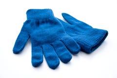 Μπλε γάντια μαλλιού στοκ εικόνες με δικαίωμα ελεύθερης χρήσης