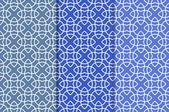 Μπλε γεωμετρικές διακοσμήσεις άνευ ραφής σύνολο προτύπων Στοκ Εικόνες