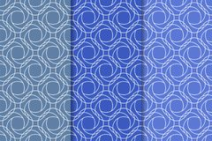 Μπλε γεωμετρικές διακοσμήσεις άνευ ραφής σύνολο προτύπων Στοκ Εικόνα
