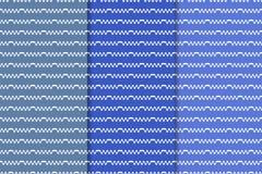 Μπλε γεωμετρικές διακοσμήσεις άνευ ραφής σύνολο προτύπων Στοκ εικόνα με δικαίωμα ελεύθερης χρήσης