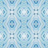 Μπλε γεωμετρικό Watercolor Περίεργο άνευ ραφής σχέδιο Συρμένα χέρι λωρίδες Σύσταση βουρτσών Καλό Chevr ελεύθερη απεικόνιση δικαιώματος