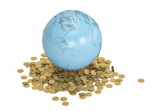 Μπλε γη και χρυσή έννοια χρηματοδότησης νομισμάτων σφαιρική τρισδιάστατο illustratio Στοκ Εικόνα