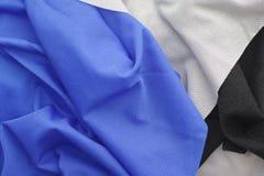 Μπλε γκρίζο και μαύρο υφαντικό υπόβαθρο υφάσματος Στοκ Εικόνες